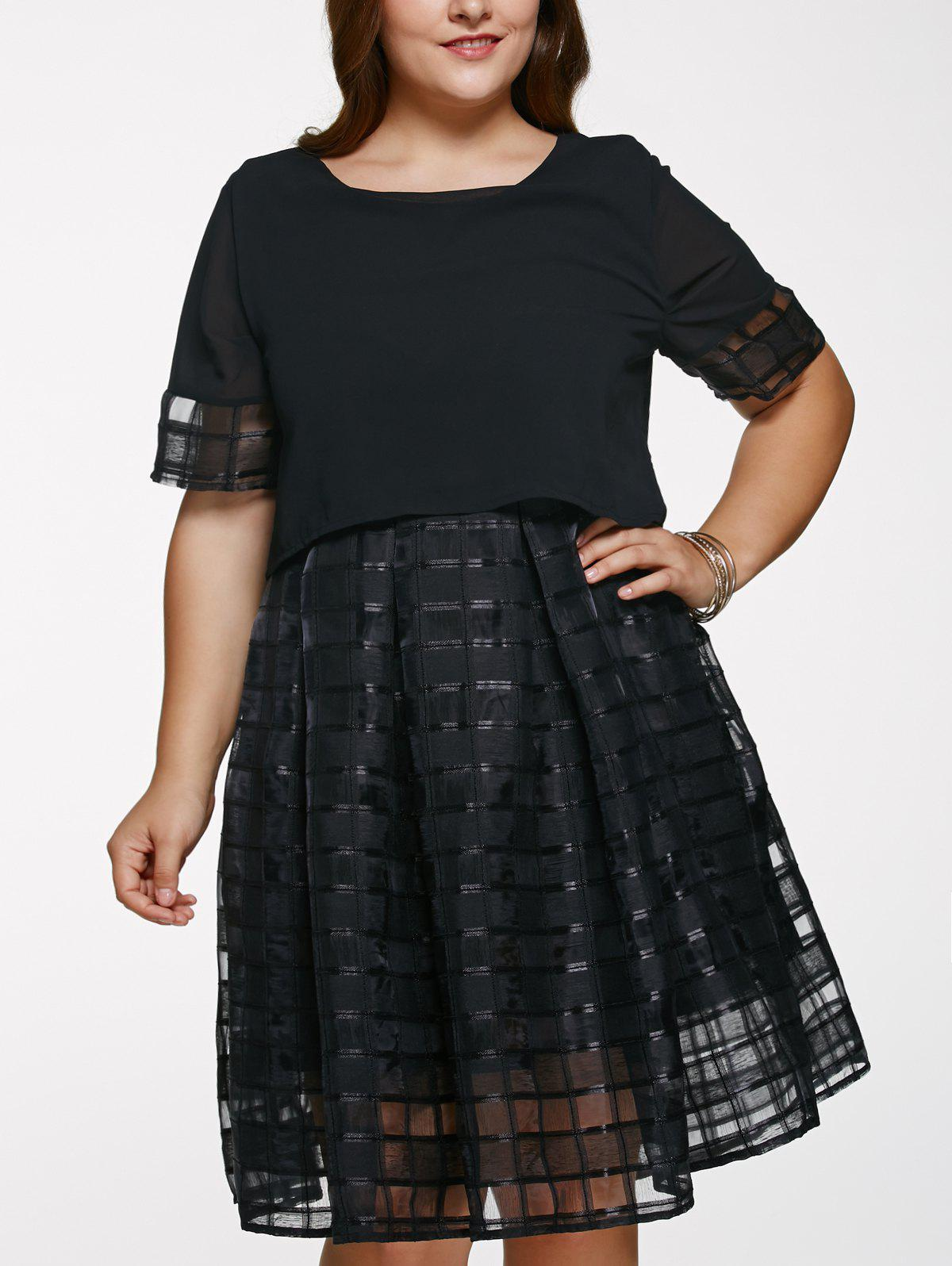 Chic Scoop Neck Plus Size See-Through Dress - BLACK 5XL