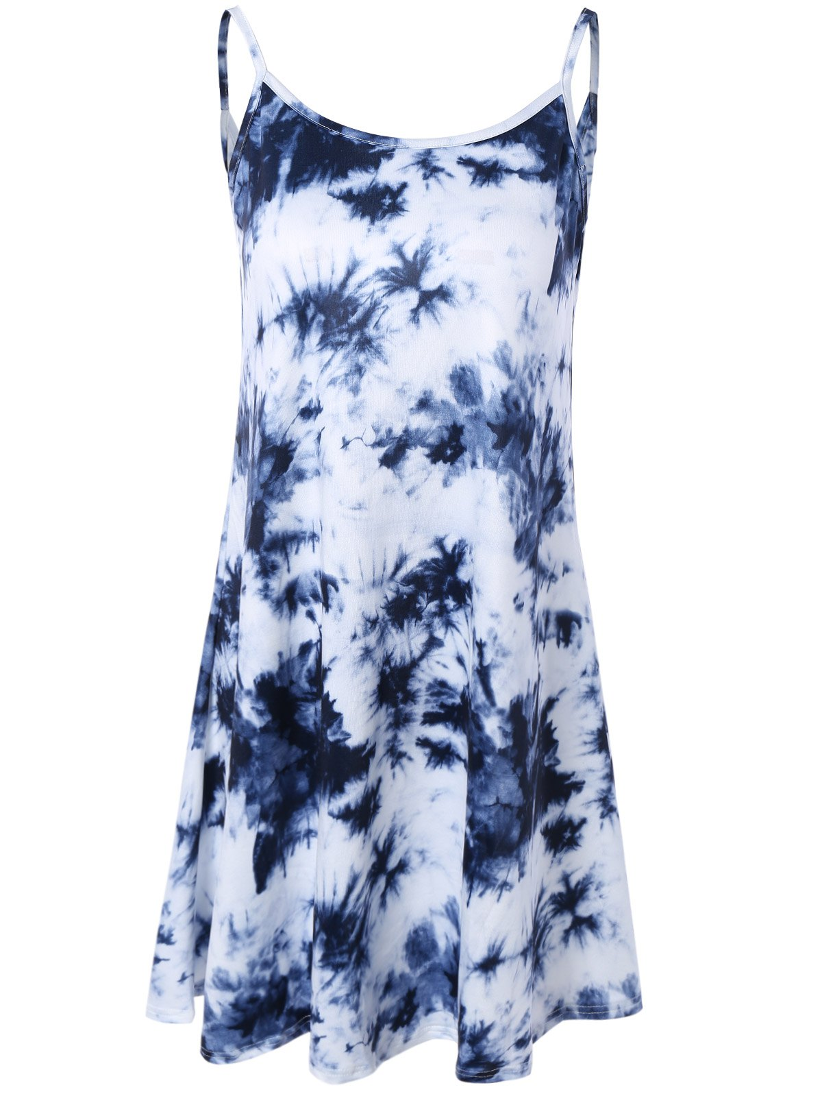 Refreshing Women's Tie-Dyed Open Back Summer Dress - DEEP BLUE 3XL