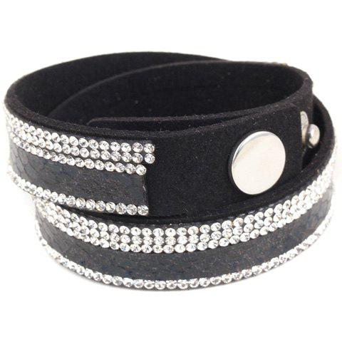 Fashion Faux Leather Rhinestone Button Adjustable Bracelet For Women