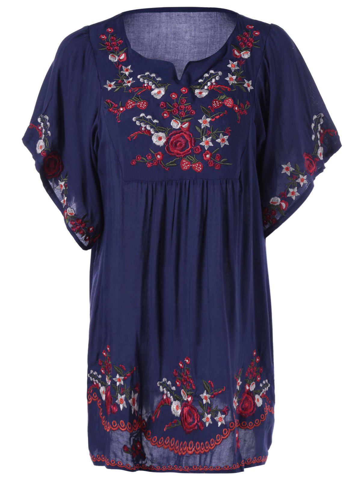Loose-Fitting Embroidered Short Sleeves Blouse - DEEP BLUE ONE SIZE(FIT SIZE XS TO M)