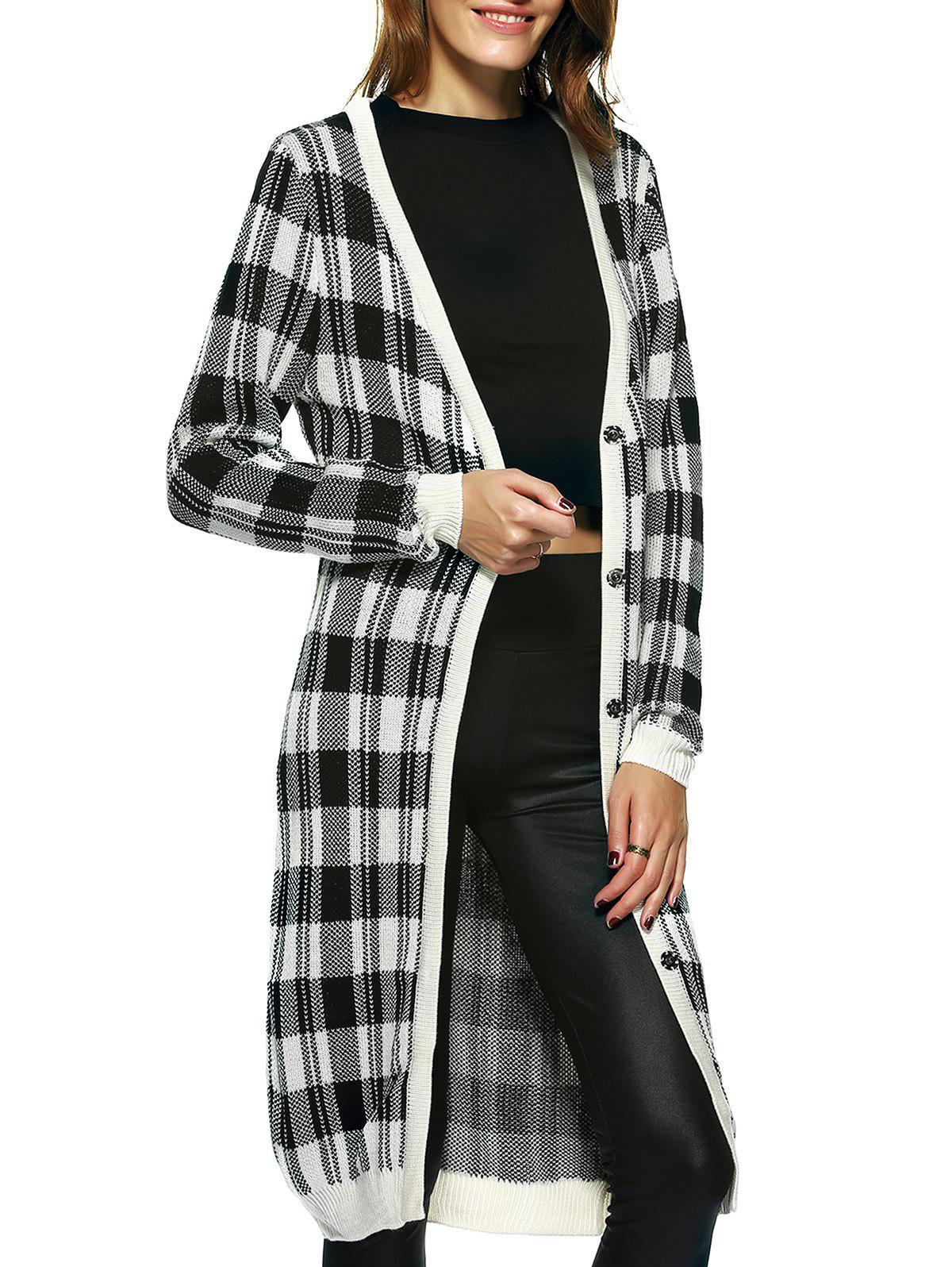 Vintage Long Sleeve Plaid Button Up Maxi Cardigan - CHECKED XL