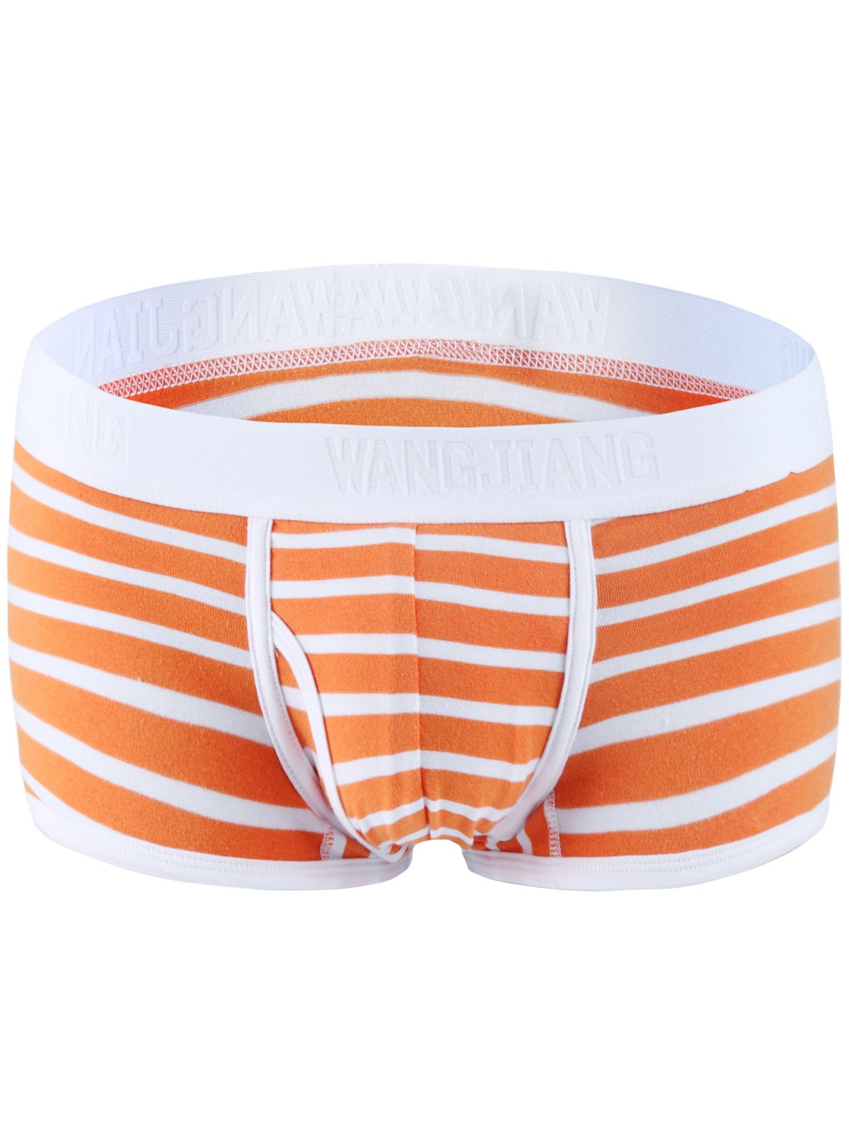 Color Block Spliced Classic Striped Boxer Underwear For Men - ORANGE / WHITE S