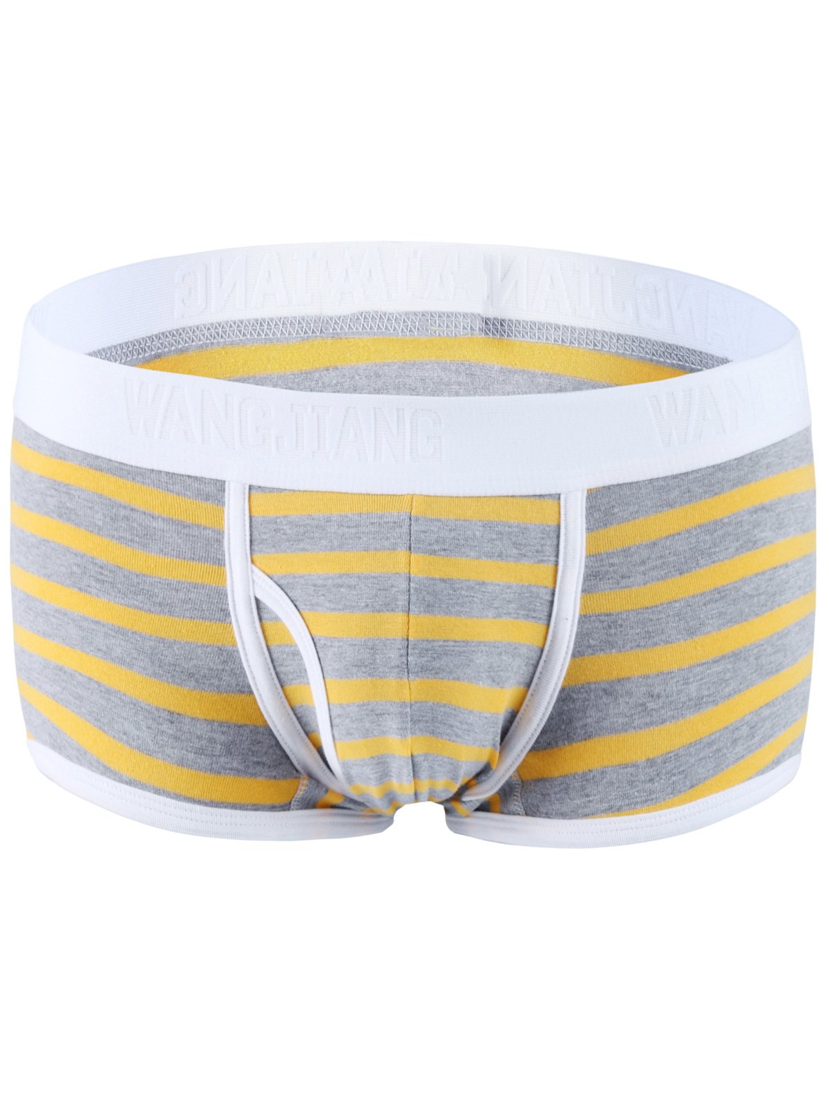 Color Block Spliced Classic Striped Boxer Underwear For Men - YELLOW / GRAY S