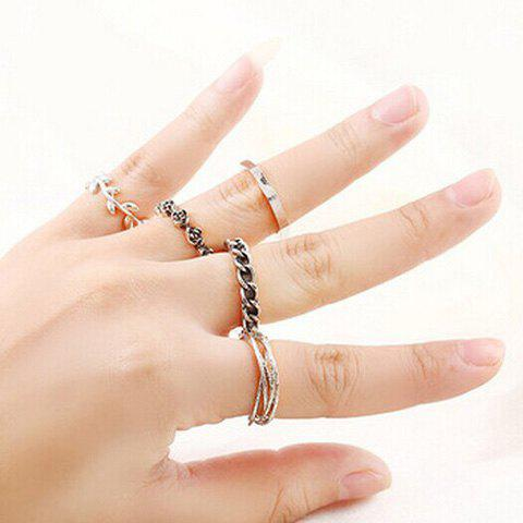 Retro Etched Rose Leaf Geometric Ring Set For Women - SILVER GRAY