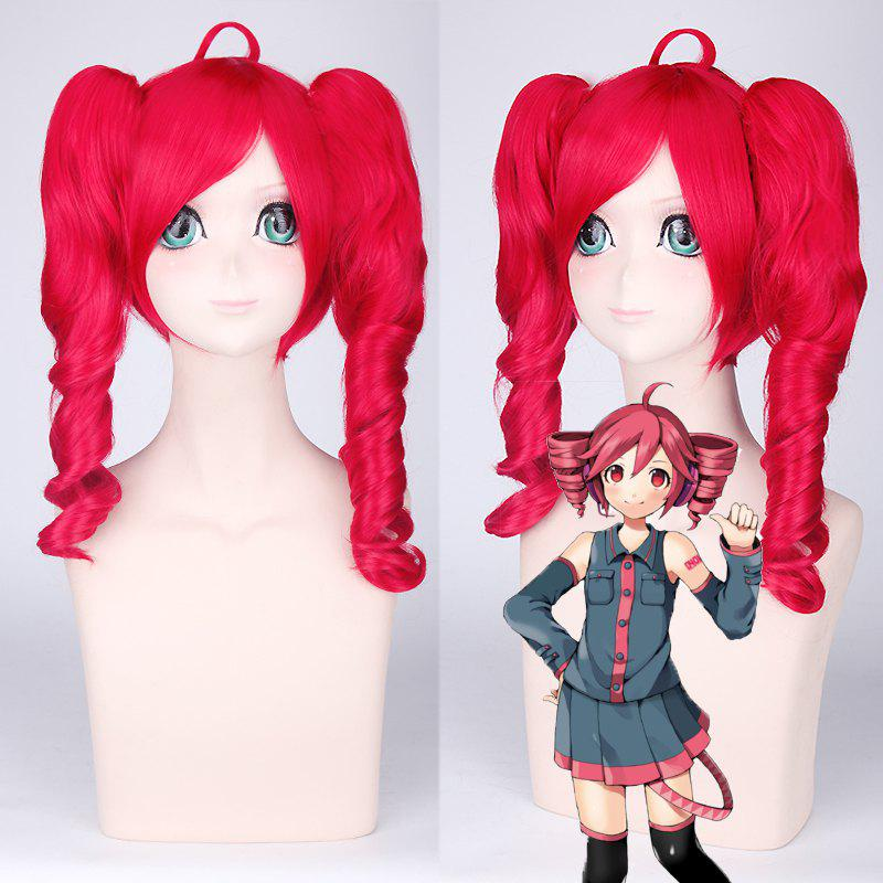 Vocaloid Kasane Teto Sweet Red Medium Cosplay Wig with Curly Bunches - RED