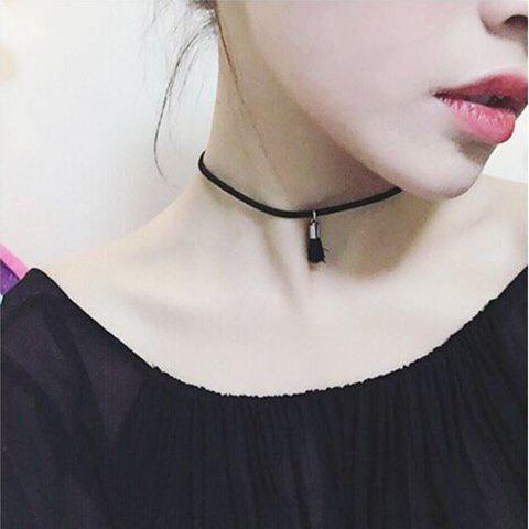 Small Tassel Embellished Chokers Necklace - BLACK