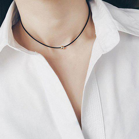 Bead Faux Leather Choker - BLACK