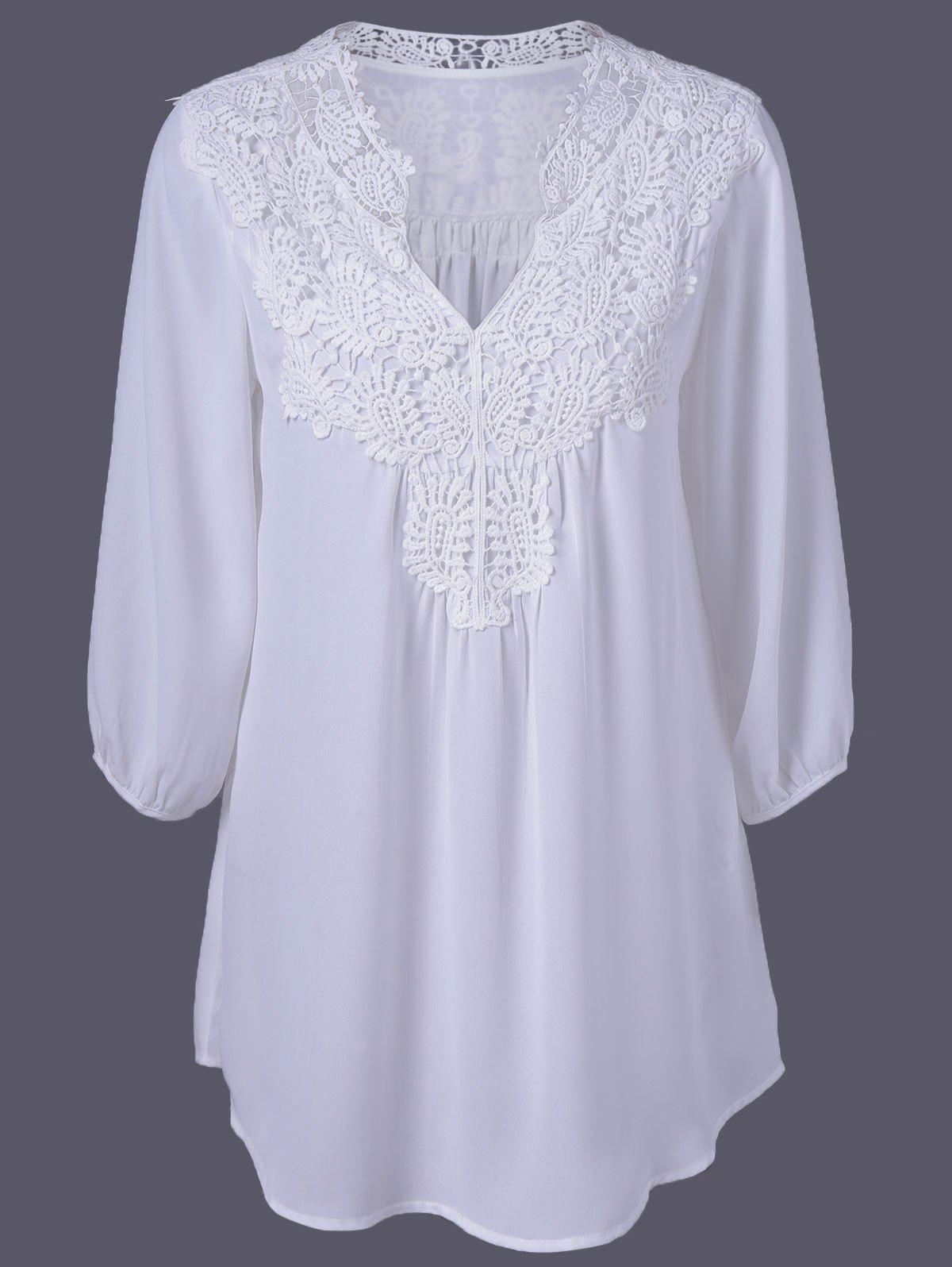 Plus Size Sweet Crochet Spliced Blouse - WHITE XL