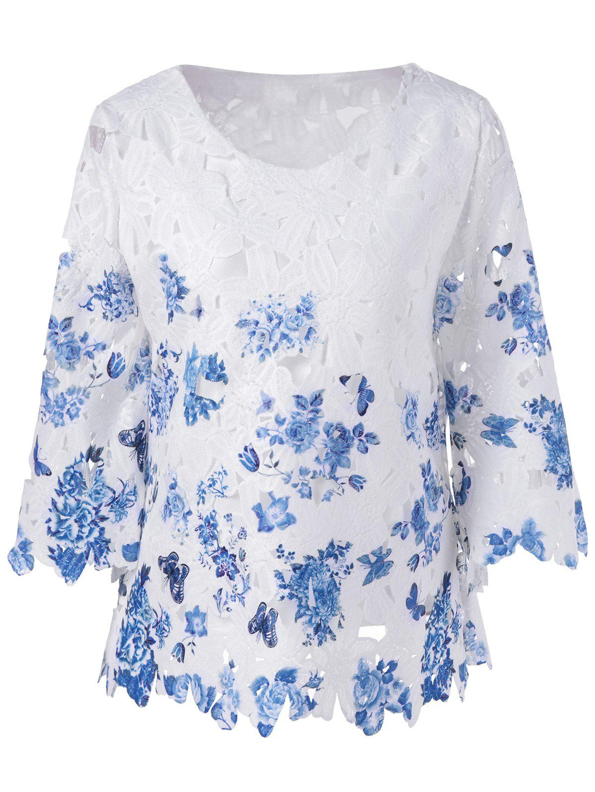 Vintage Embroidery Crochet 3/4 Sleeve Blouse - BLUE/WHITE ONE SIZE(FIT SIZE XS TO M)