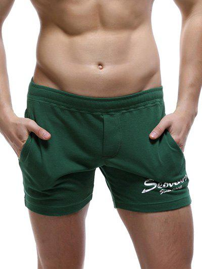 Casual Style Pocket Design Letter Print Lounge Shorts For Men - BLACKISH GREEN XL