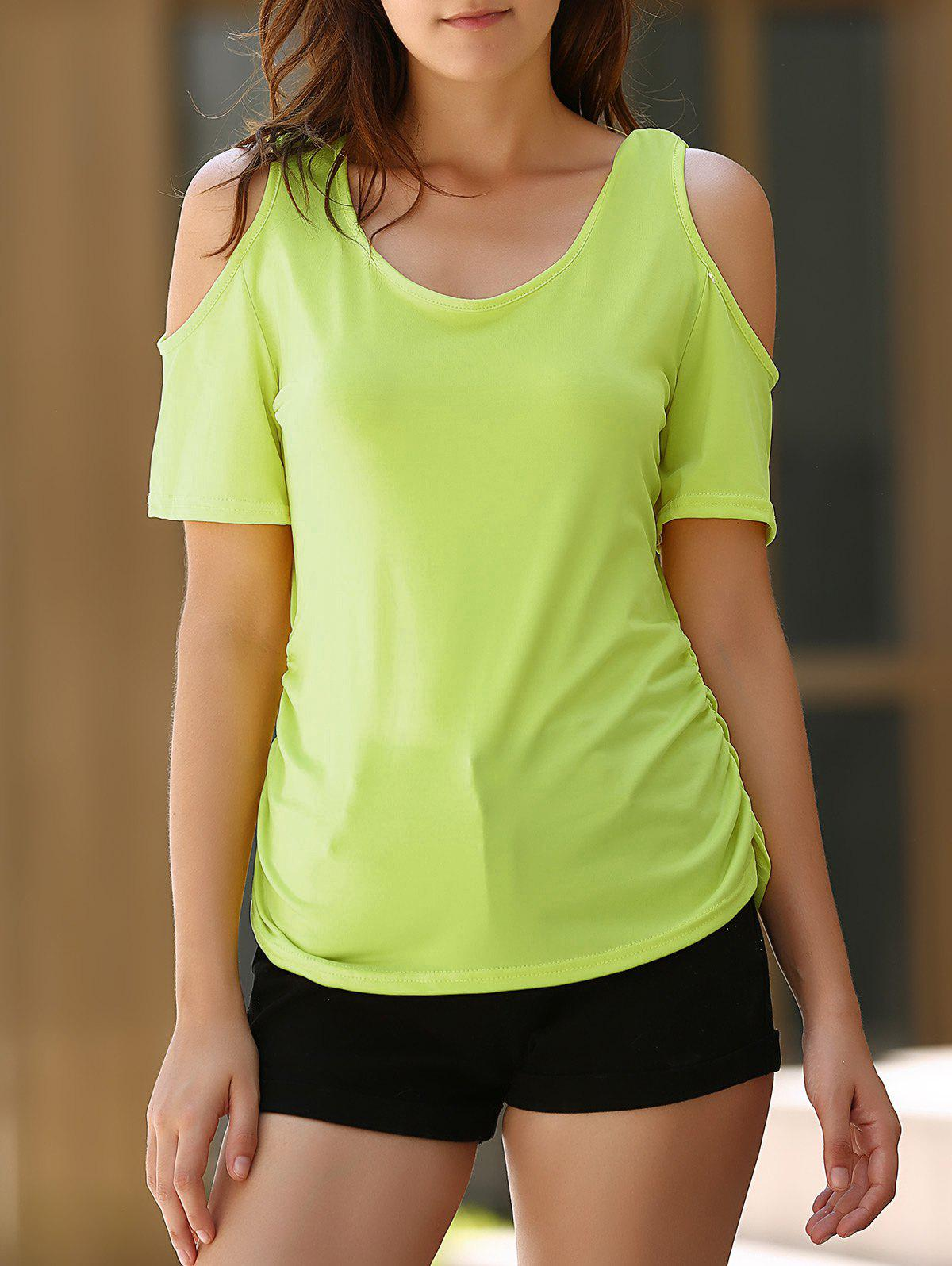 Sexy Women's U Neck Cold Shoulder Solid Color T-Shirt - M NEON GREEN