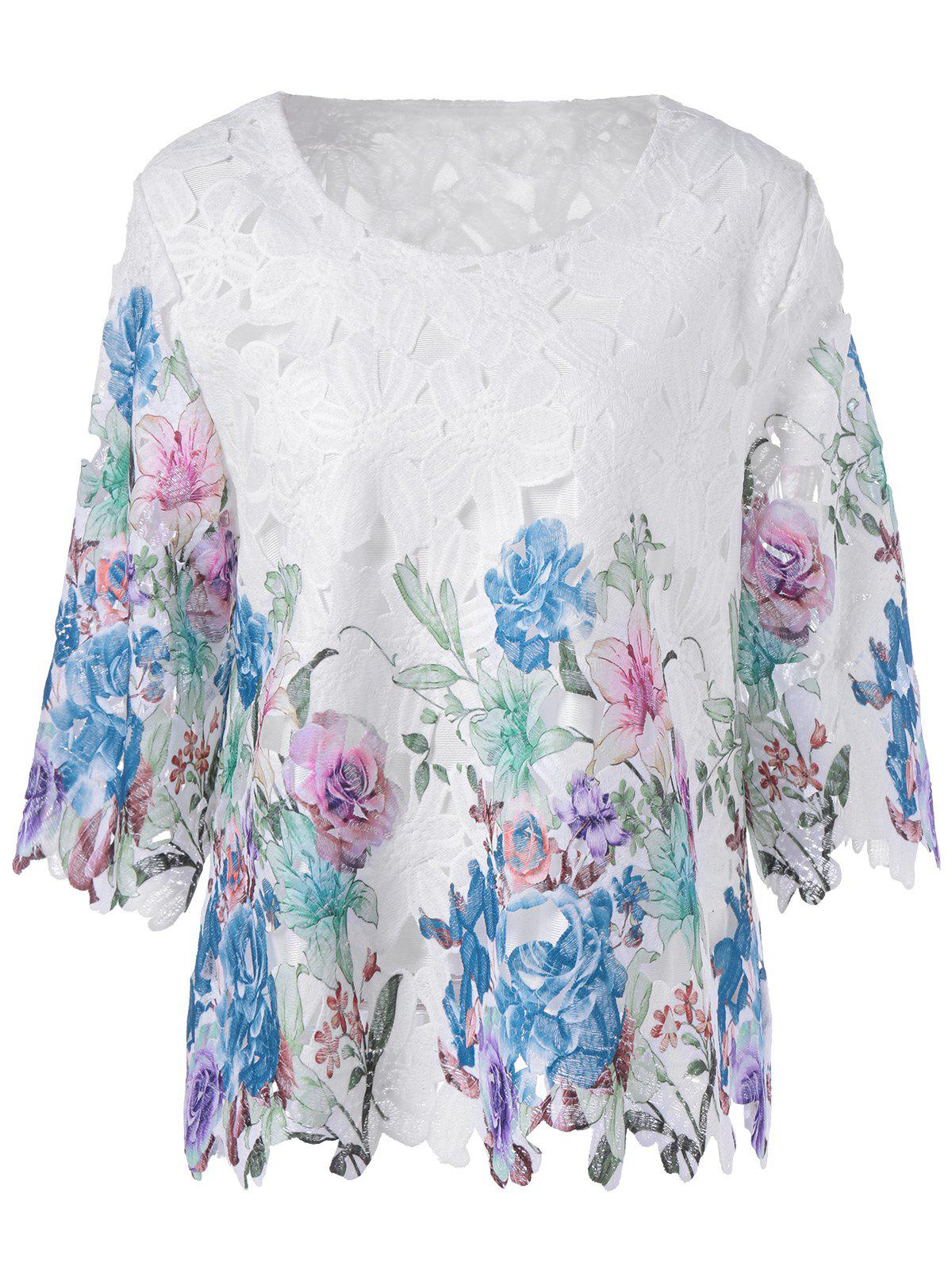 Vintage Multicolor Embroidery Crochet 3/4 Sleeve Blouse - COLORMIX ONE SIZE(FIT SIZE XS TO M)