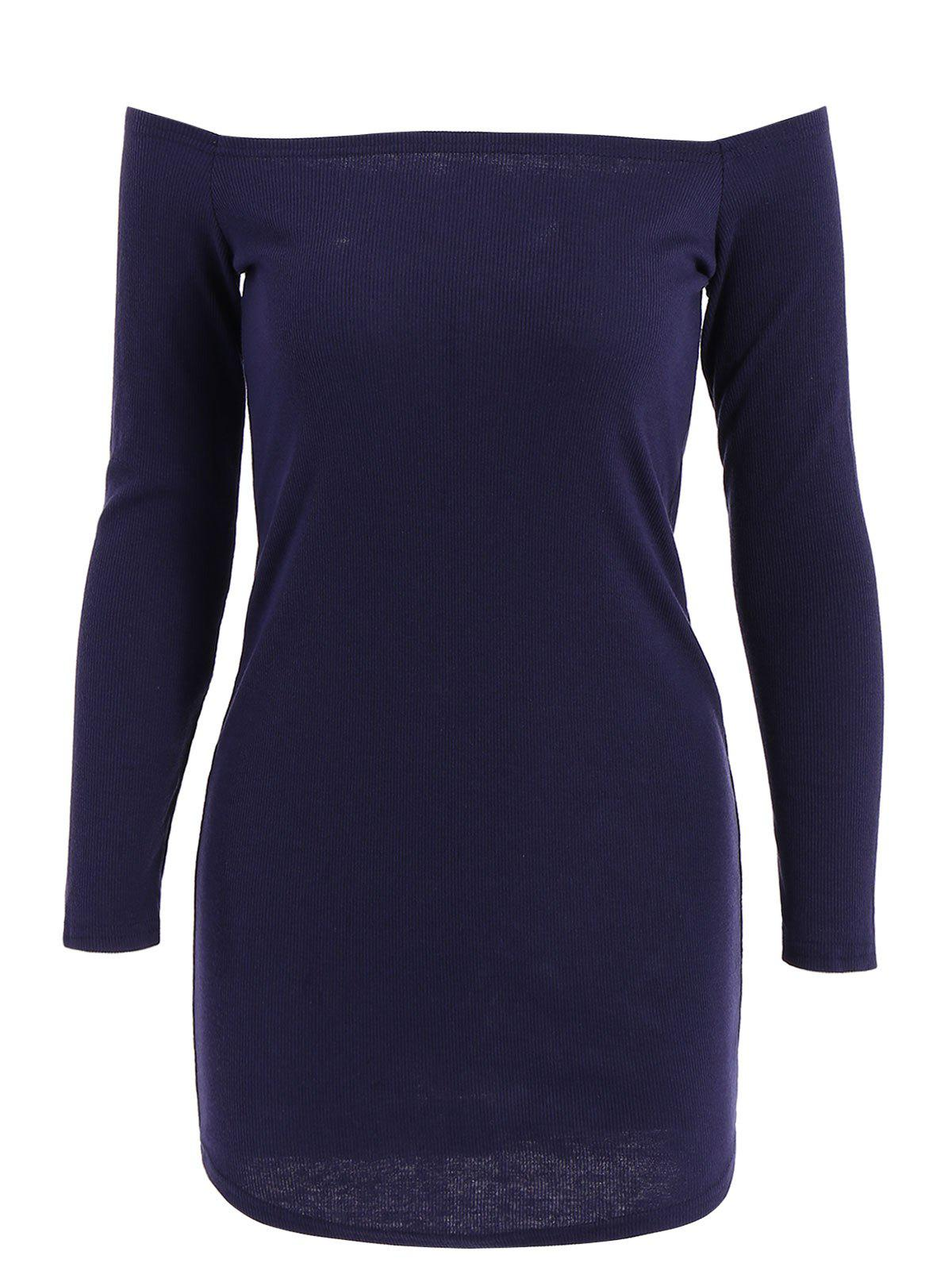 Stylish Off-The-Shoulder Solid Color Knitted Long Sleeve Women's Dress - DEEP BLUE L