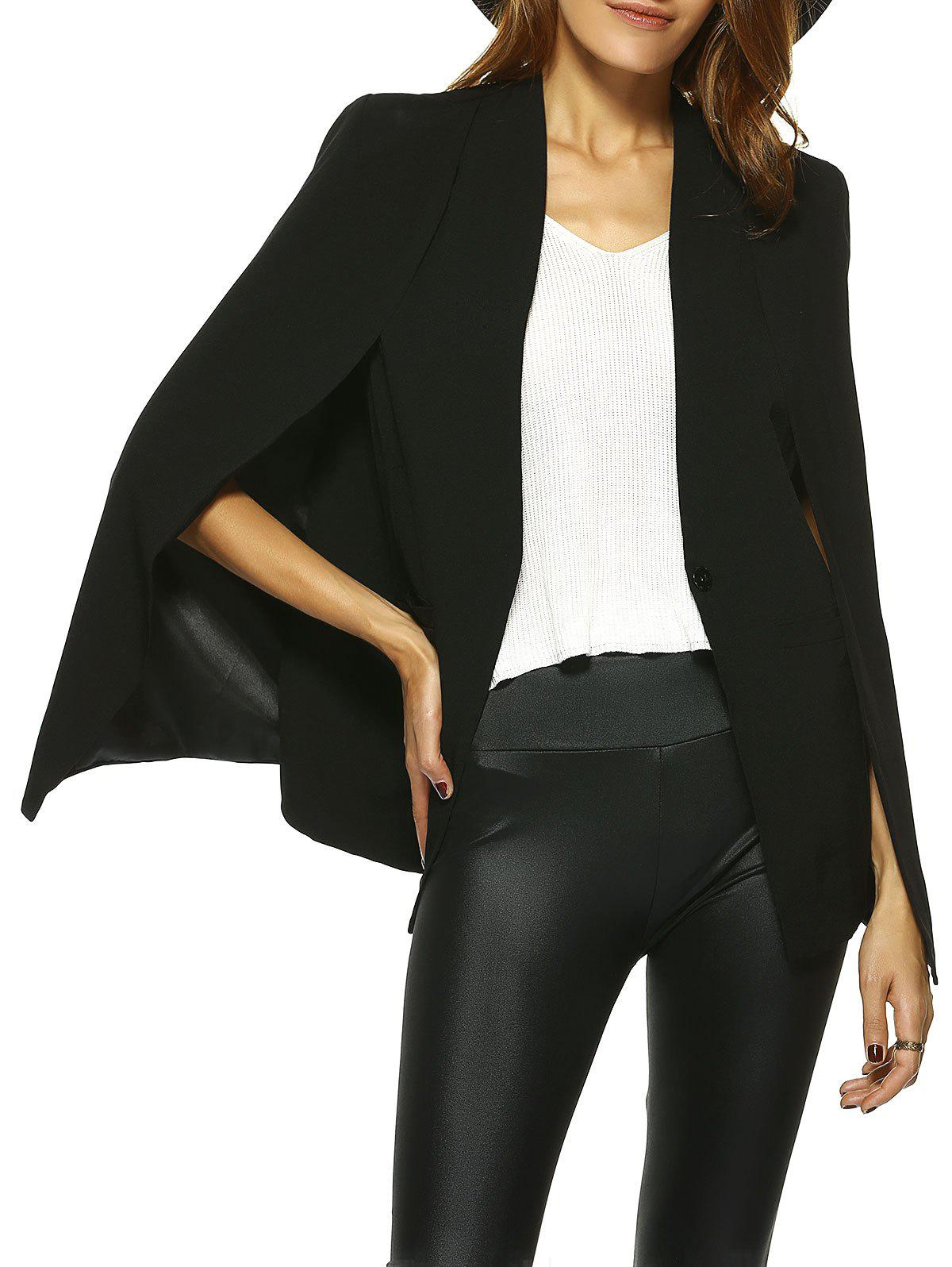 Vintage Couleur One-Button pur Cape Blazer - Noir 2XL