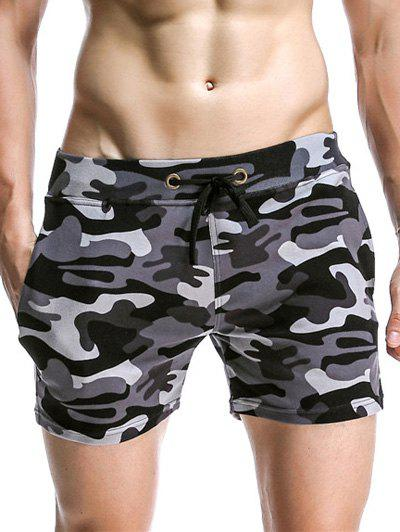 Drawstring Waistband Camo Bomber Lounge Shorts For Men - GRAY L
