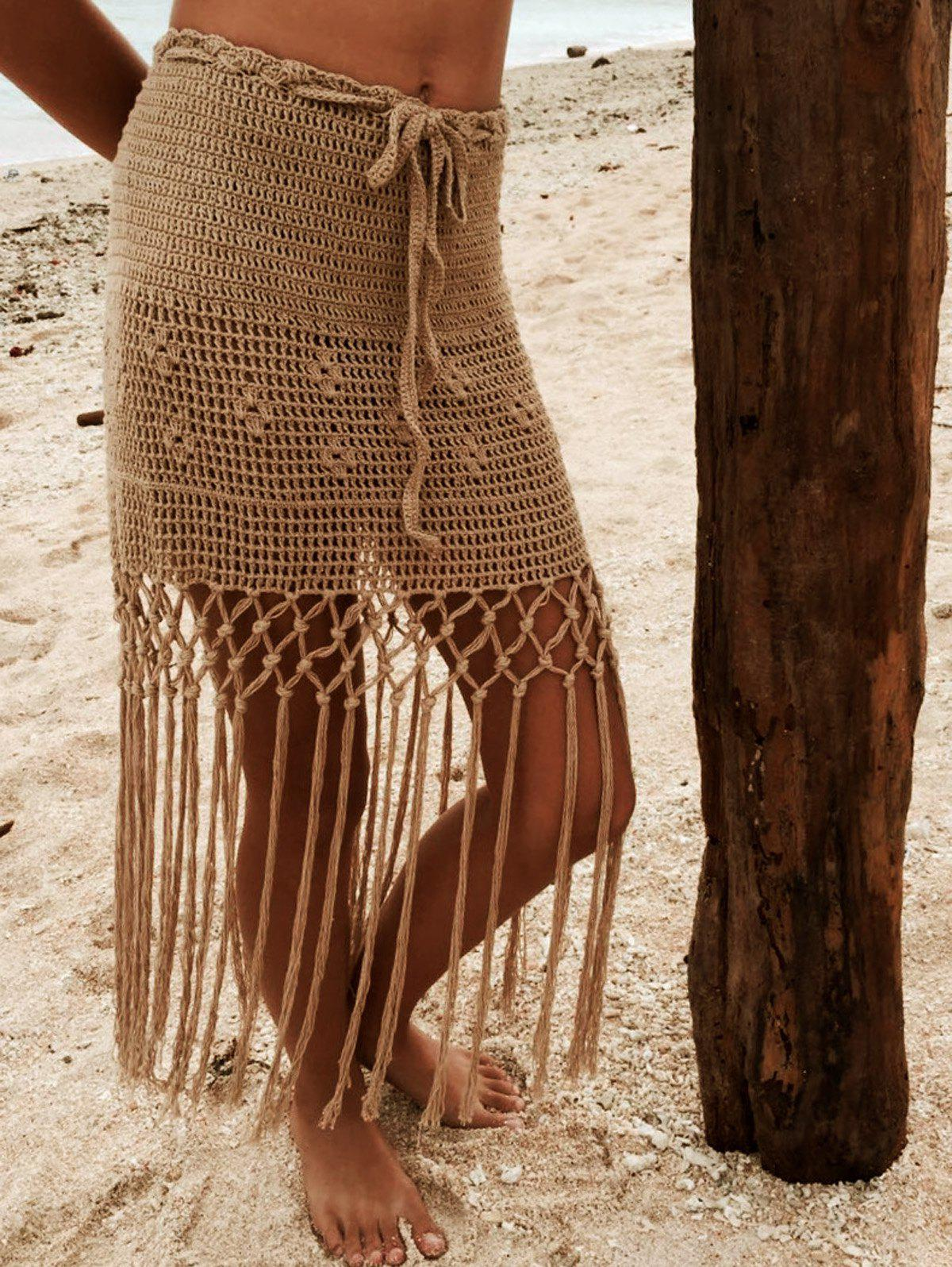 Alluring Hollow Out Fringed Crochet Cover Up Skirt - KHAKI XL