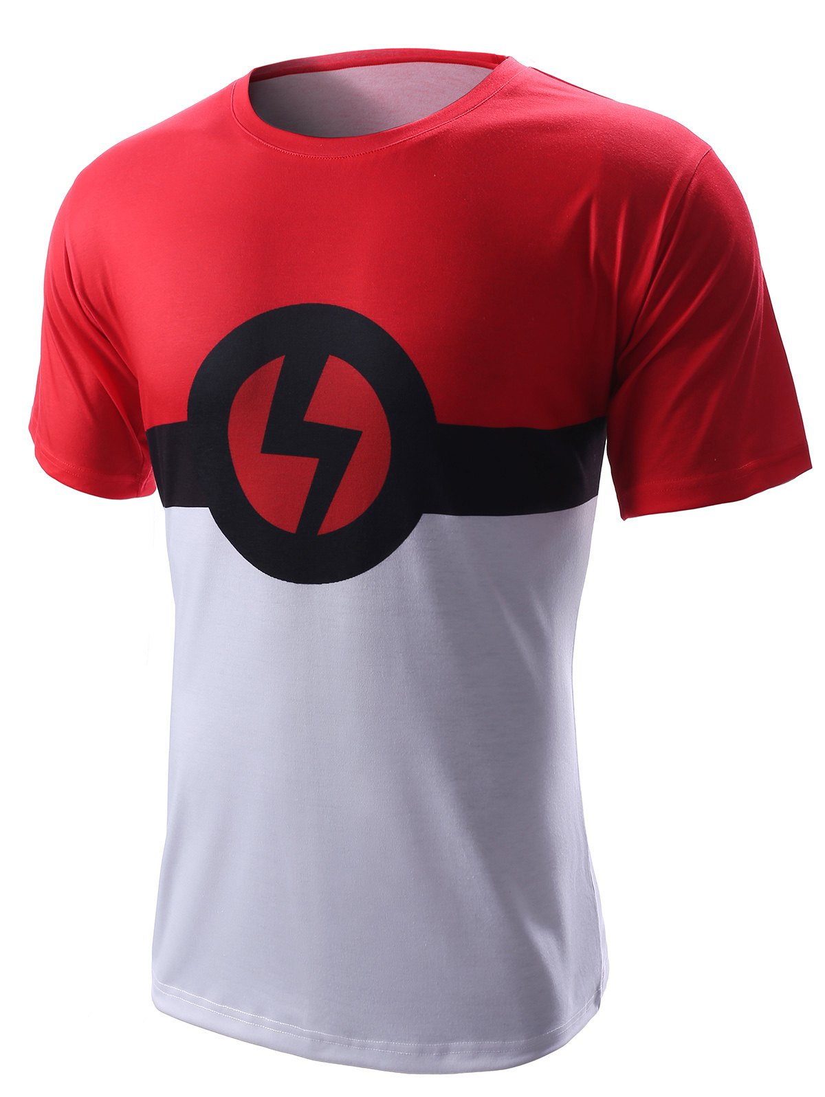 Round Neck Lightning Sign Design Short Sleeve Men's T-Shirt - COLORMIX XL