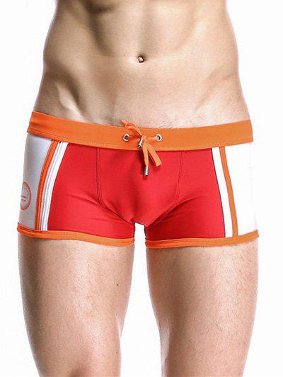 Drawstring Waistband Design Casual Color Block Swimming Trunks For Men - RED XL