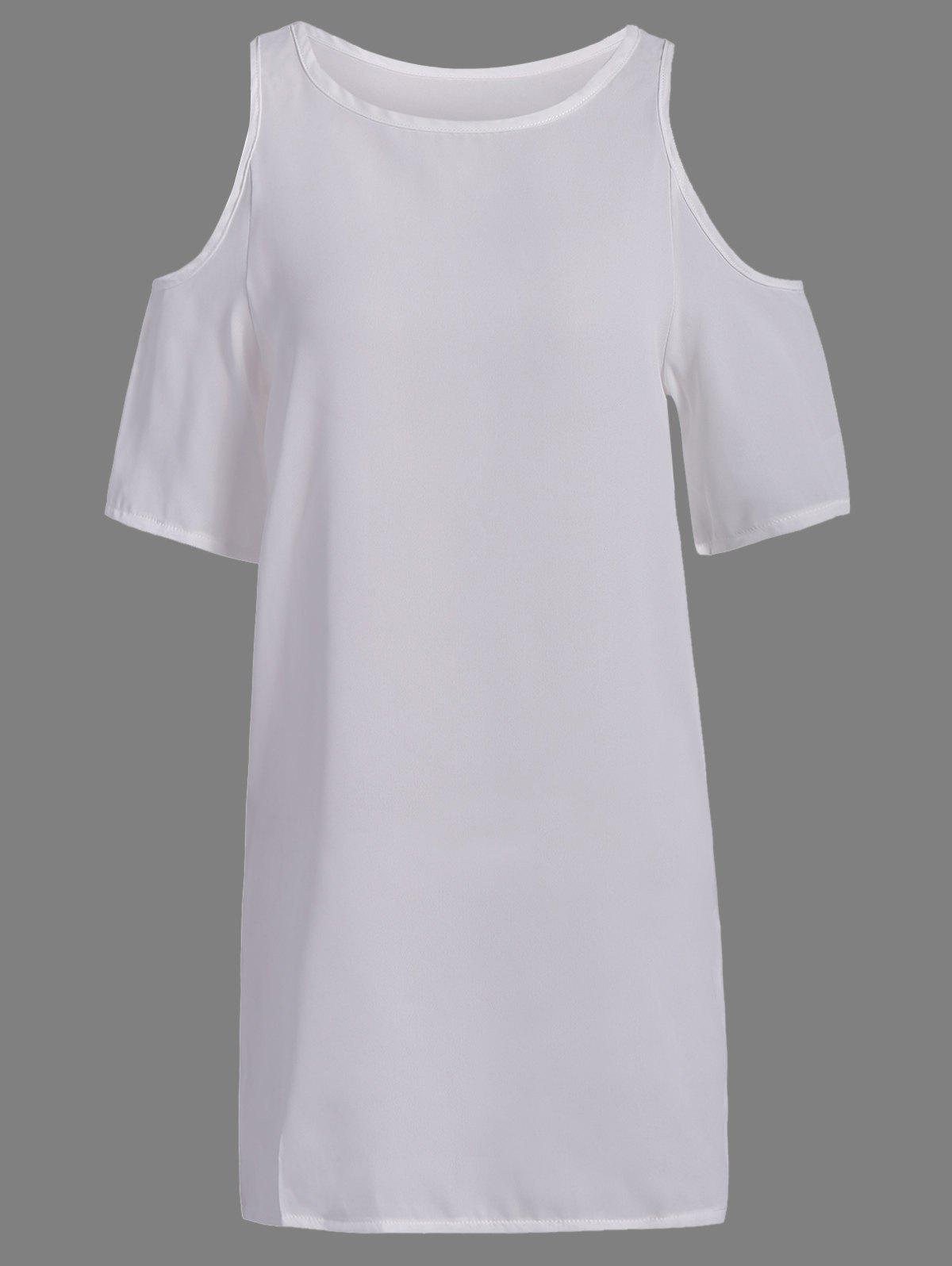 Brief Style Round Neck Short Sleeve Hollow Out Chiffon Womens White DressWomen<br><br><br>Size: 3XL<br>Color: WHITE