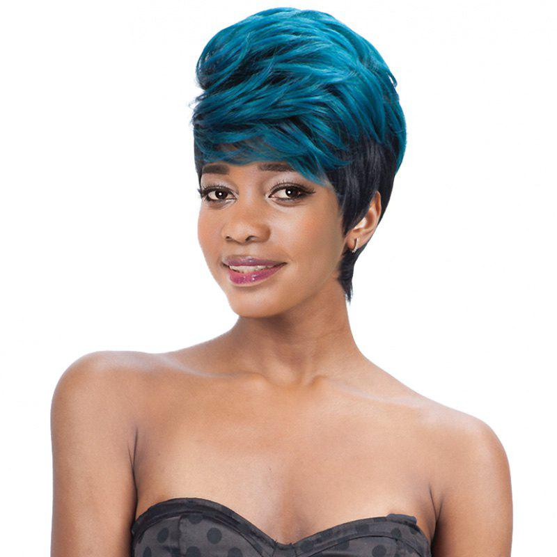 Women's Short Fluffy Full Bang Mixed Color Fashion Synthetic Hair Wig - COLORMIX