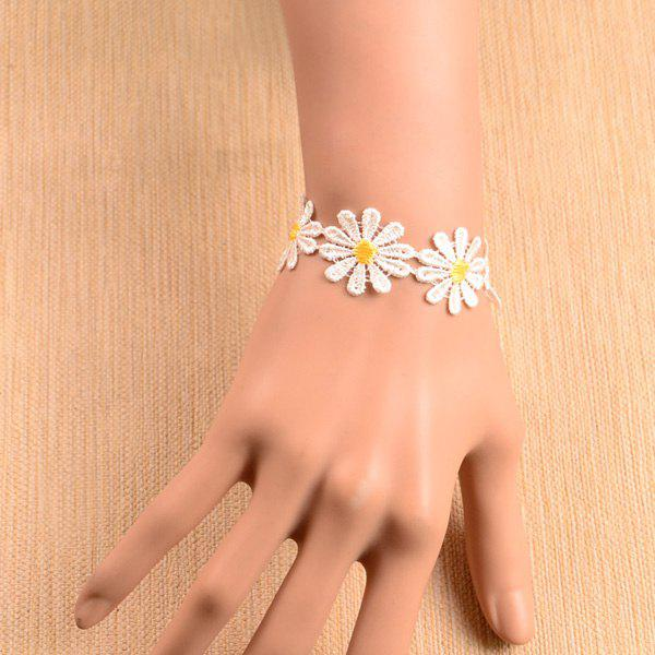 Cut Out Embroidery Flowers Bracelet - WHITE