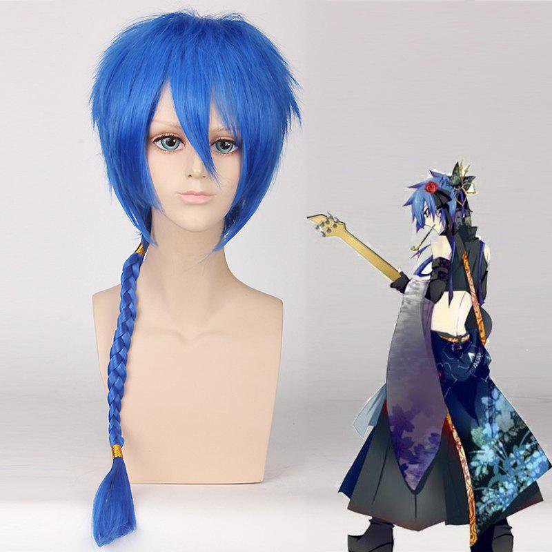 Vocaloid Katto Fluffy Straight Blue Heat Resistant Fiber Cosplay Wig with Braided - BLUE