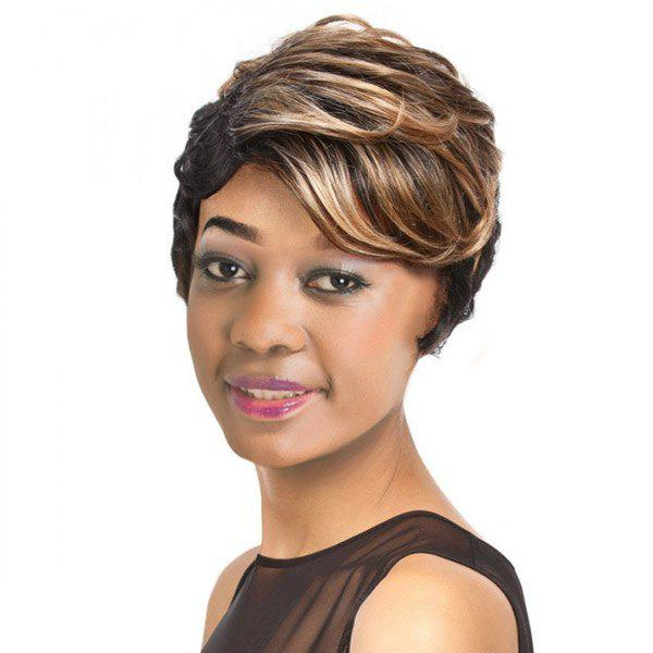 Women's Short Wavy Side Bang Mixed Color Retro Synthetic Hair Wig - COLORMIX