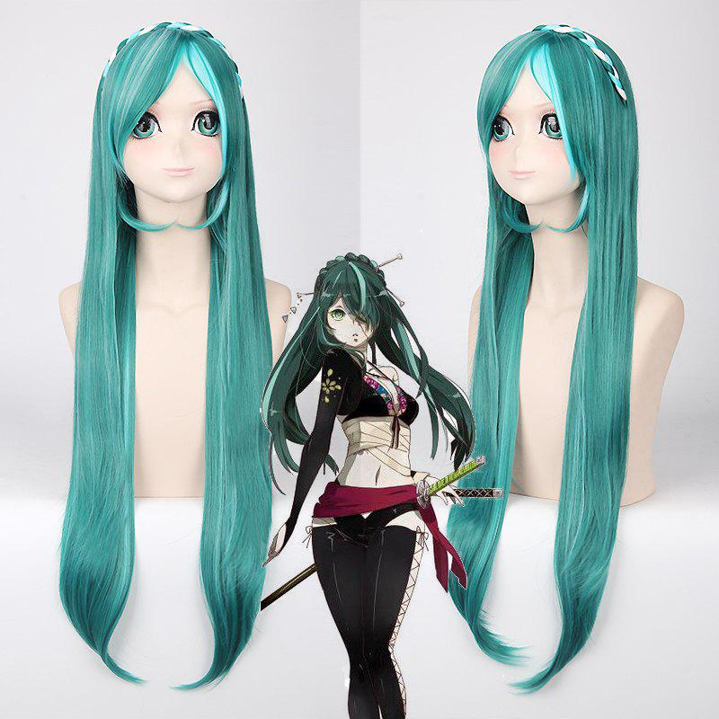 Heat Resistant Fiber Long With Multicolor Braided Decor Vocaloid Miku Knife Style Cosplay Wig - COLORMIX