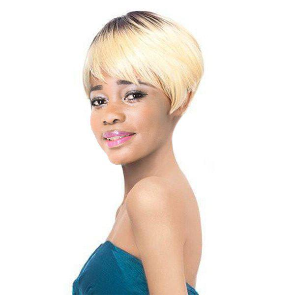 Women's Short Full Bang Mixed Color Fashion Synthetic Hair Wig - COLORMIX