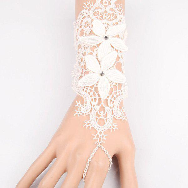 Vintage Cut Out White Lace Foral Long Bracelet For Women - WHITE