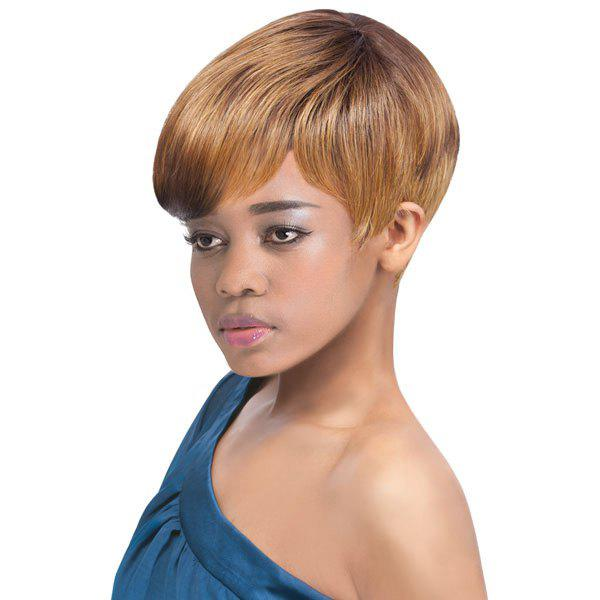 Short Side Bang Mixed Ombre Skilful Synthetic Hair Wig - COLORMIX