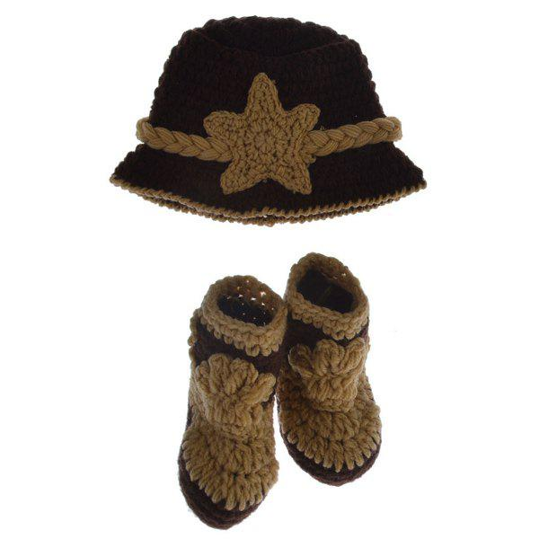 2PCS Crochet Cowboy Hat and Boots Photography Clothes For Baby - BROWN