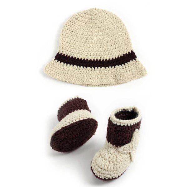 2PCS Crochet Cowboy Hat and Boots Photography Clothes For Baby - OFF WHITE