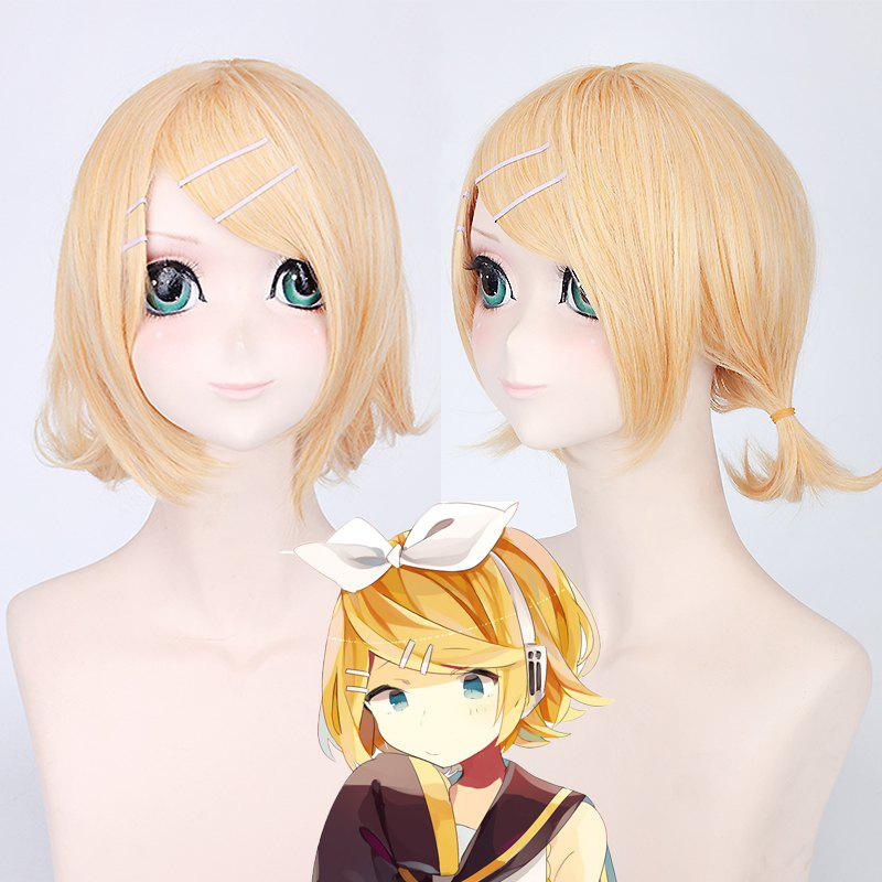 Sweet Style Short Synthetic Straight Layered Vocaloid Kagamine Rin Cosplay Wig - YELLOW
