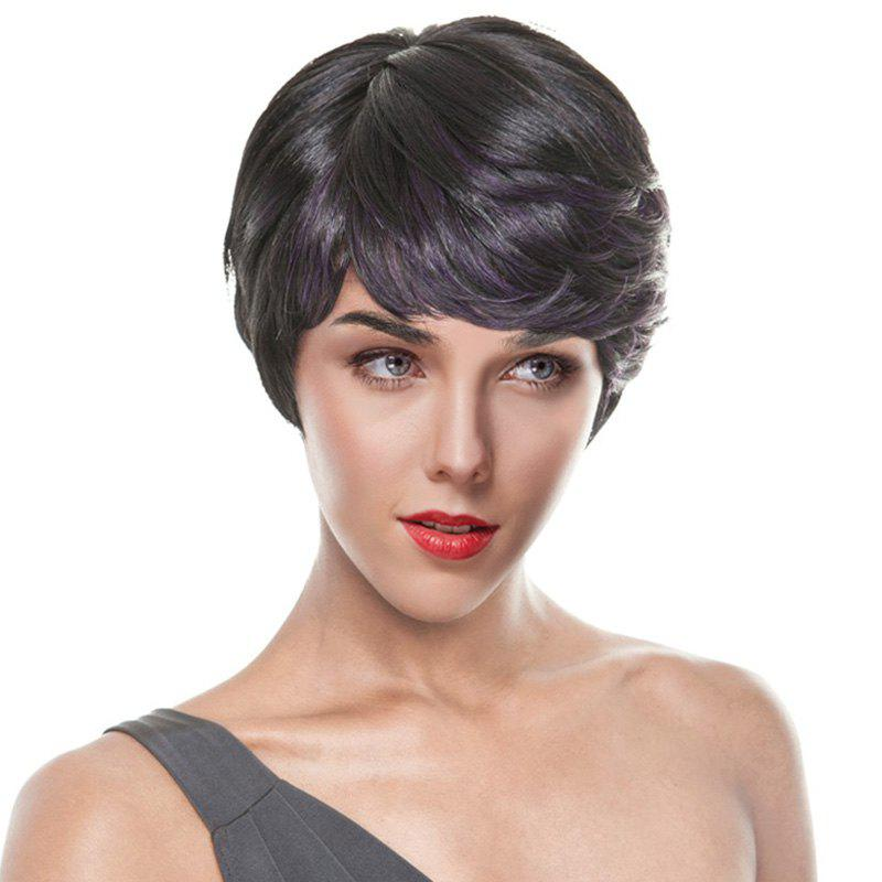 Women's Short Slightly Curled Side Parting Black Purple Skilful Synthetic Hair Wig - COLORMIX