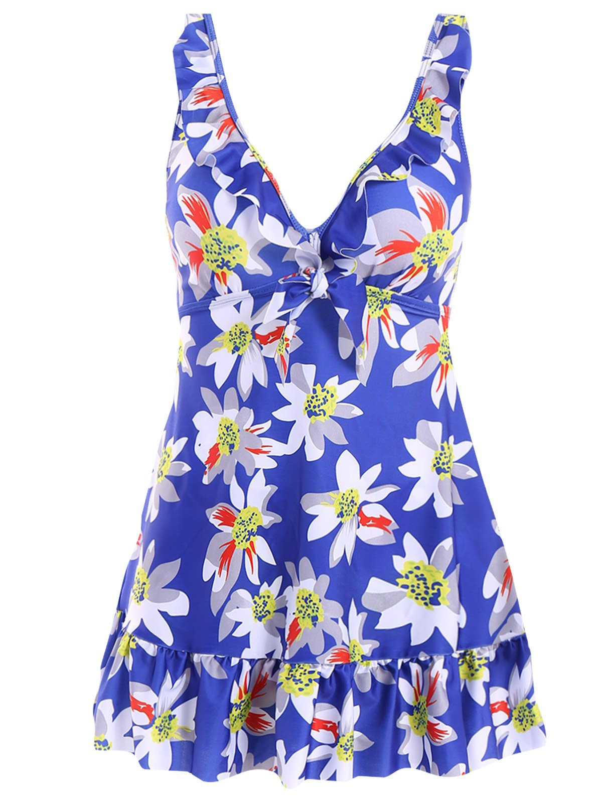 Sweet Women's V-Neck Floral Printed One-Piece Swimsuit
