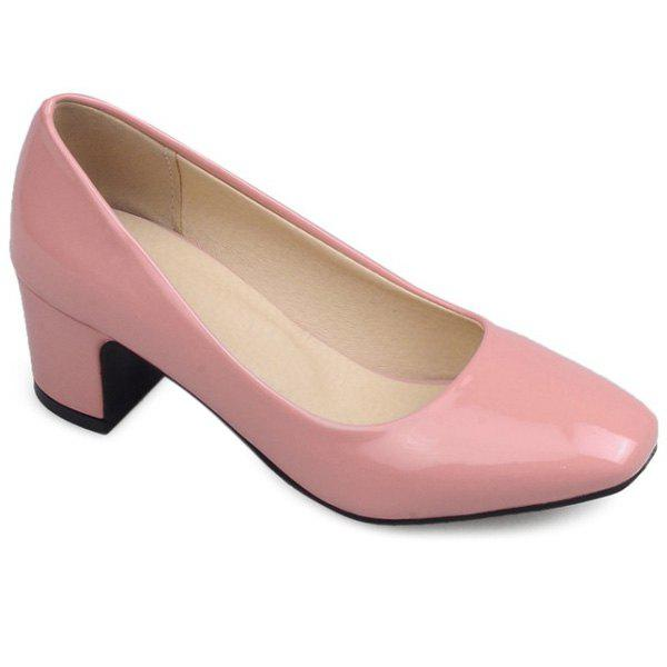 Leisure Block Heel and Square Toe Design Women's Pumps - PINK 39