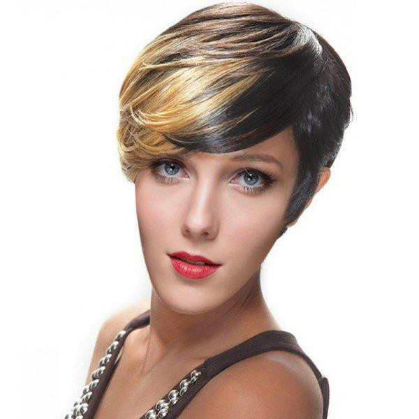 Women's Short Side Bang Mixed Color Outstanding Synthetic Hair Wig