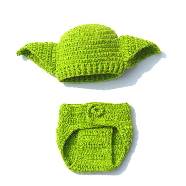 Fashional Crochet Green Hat Photography Clothes Set For Baby