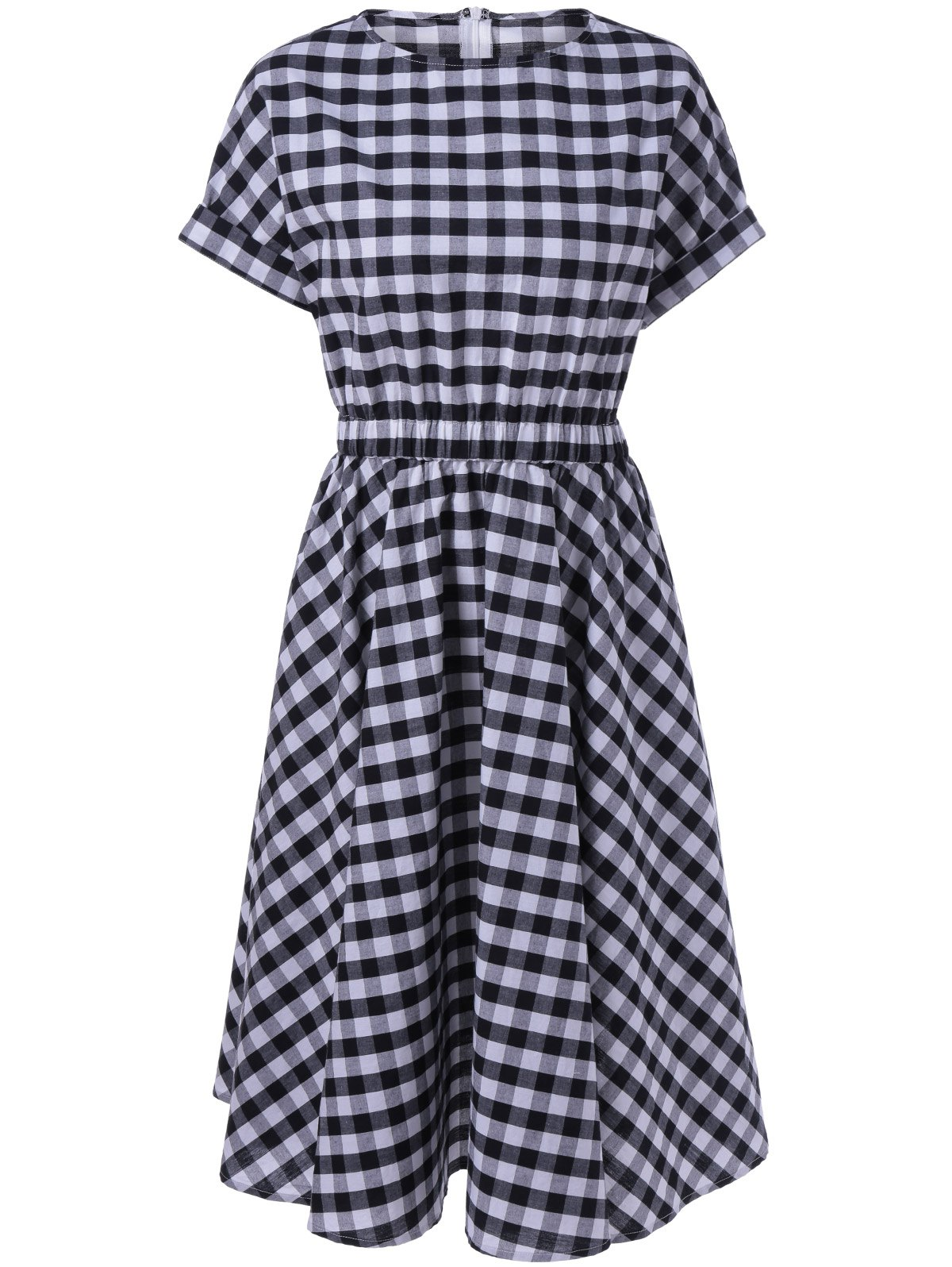 Casual Plaid Print Fit and Flare Dress