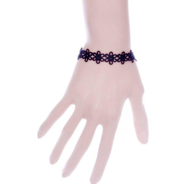 Retro Cut Out Lace Floral Bracelet - BLACK