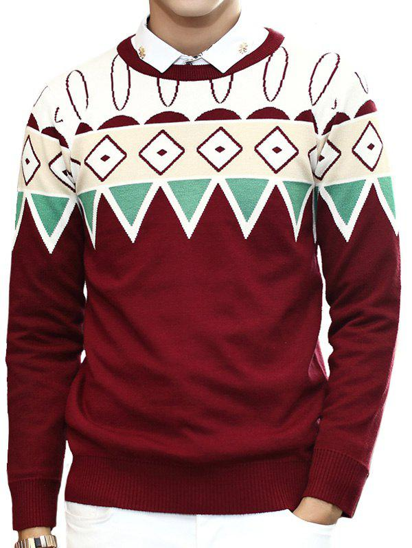 Zigzag Geometric Pattern Round Neck Long Sleeve Men's Sweater - WINE RED 2XL