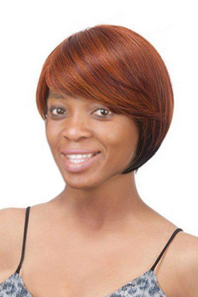 Women's Short Side Bang Mixed Color Straight Charming Synthetic Hair Wig