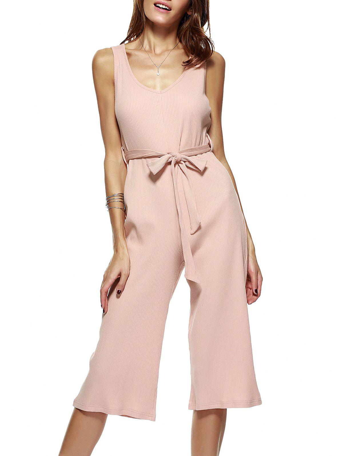 Brief Women's Pleated High Waist Jumpsuit - SHALLOW PINK M
