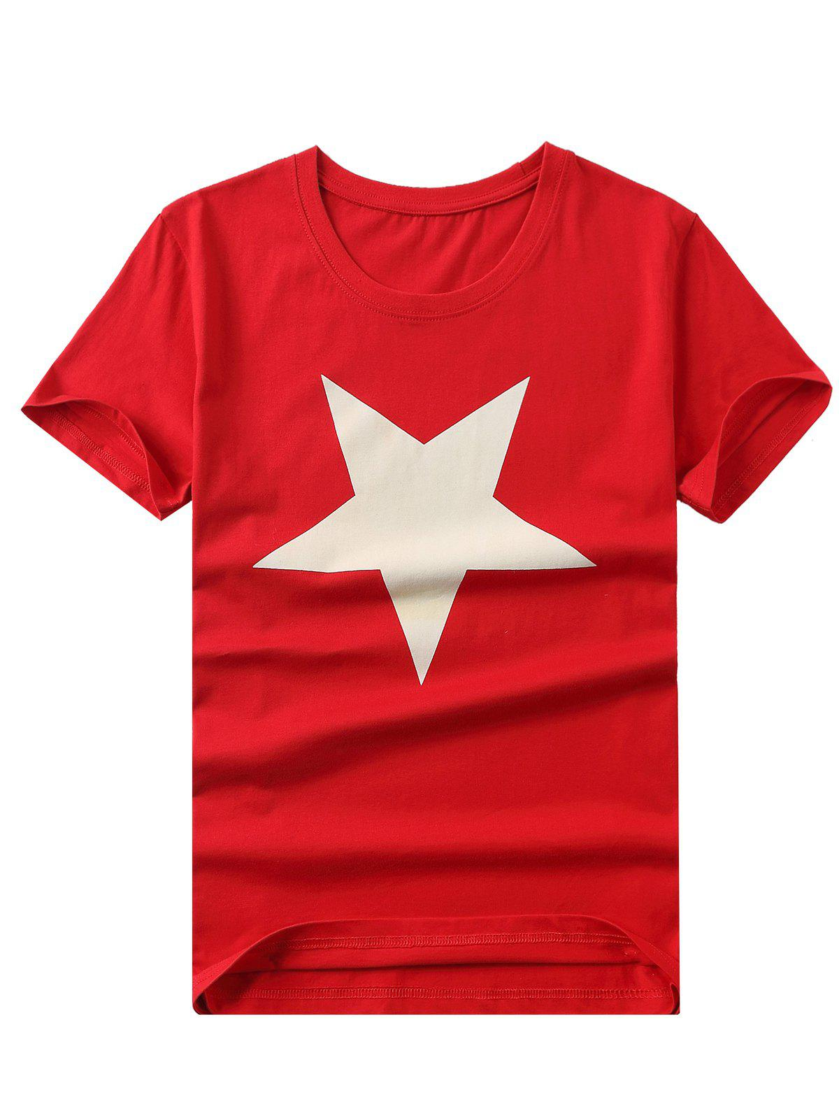 Brief Style Star Print Round Neck Short Sleeves Tee For Men - RED 4XL