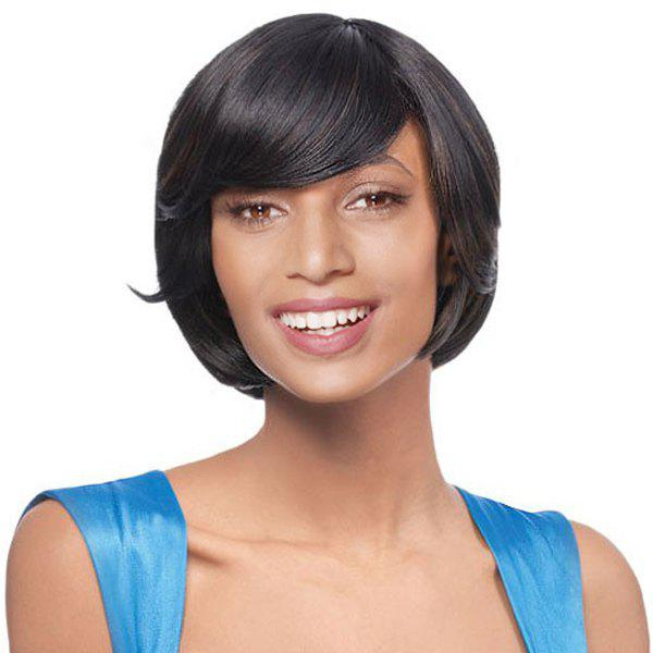 Women's Short Side Bang Deep Brown Straight Ladylike Synthetic Hair Wig