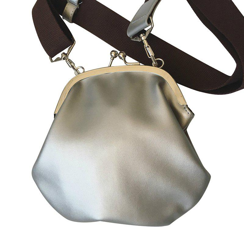 Leisure Kiss Lock Closure and Round Shape Design Women's Crossbody Bag - SILVER