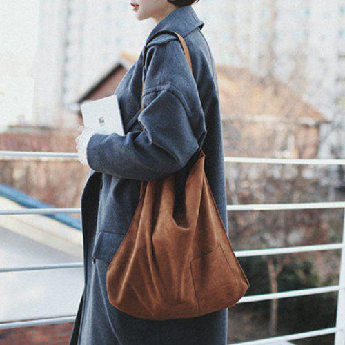 Leisure Faux Suede and Brown Design Women's Shoulder Bag
