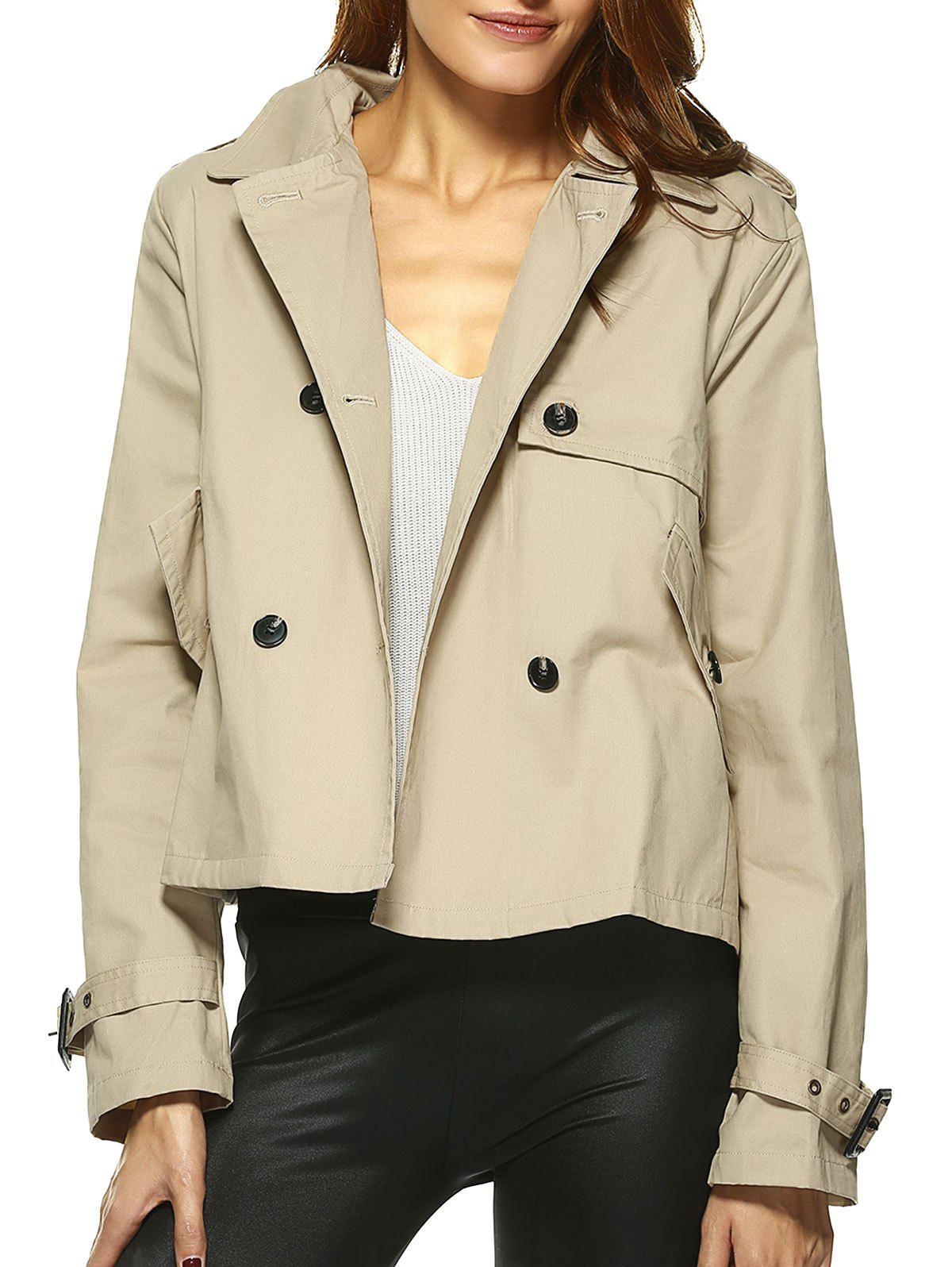 Vintage Double-Breasted Turn Down Collar Loose Trench Jacket - CAMEL 2XL