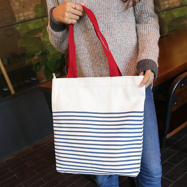 Casual Navy Stripes and Canvas Design Women's Shoulder Bag - RED